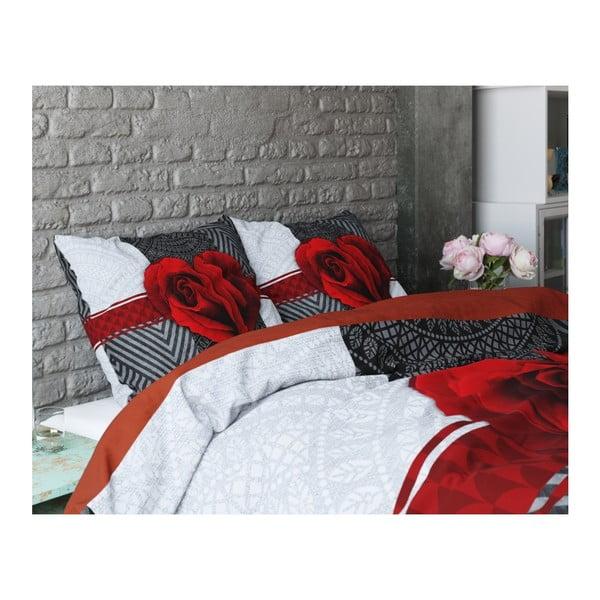 Lenjerie de pat din bumbac Dreamhouse Garden Rose, 200 x 200 cm, roșu