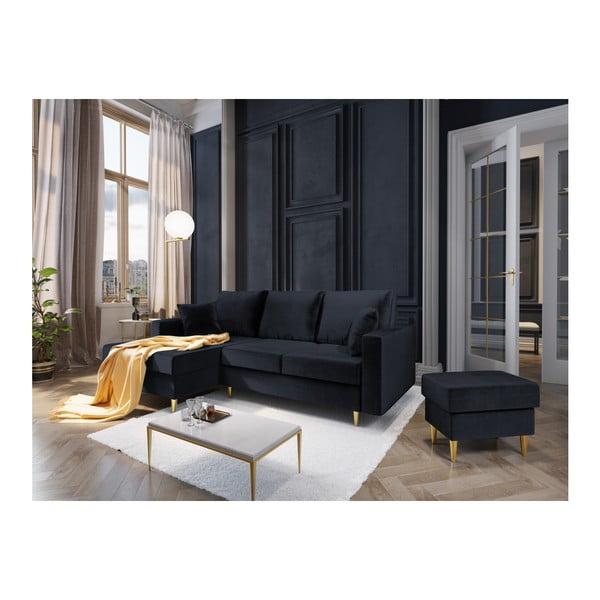 Tmavě modrá čtyřmístná rozkládací pohovka s úložným prostorem Mazzini Sofas Muguet, levý roh