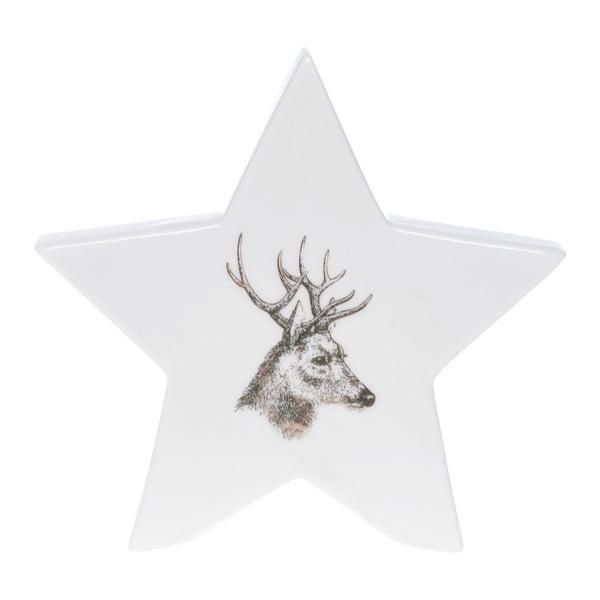 Bílá keramická dekorativní hvězda Ewax Deer, výška12cm