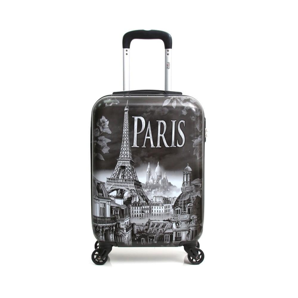 Šedý cestovní kufr na kolečkách Hello Paris, 37 l
