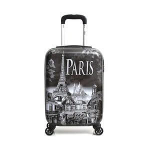 Šedý cestovní kufr na kolečkách Hello Paris