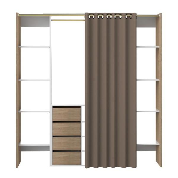 Tom barna ruhásszekrény, szürkésbarna függönnyel - Symbiosis