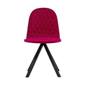 Scaun cu picioare negre Iker Mannequin Triangle, roz