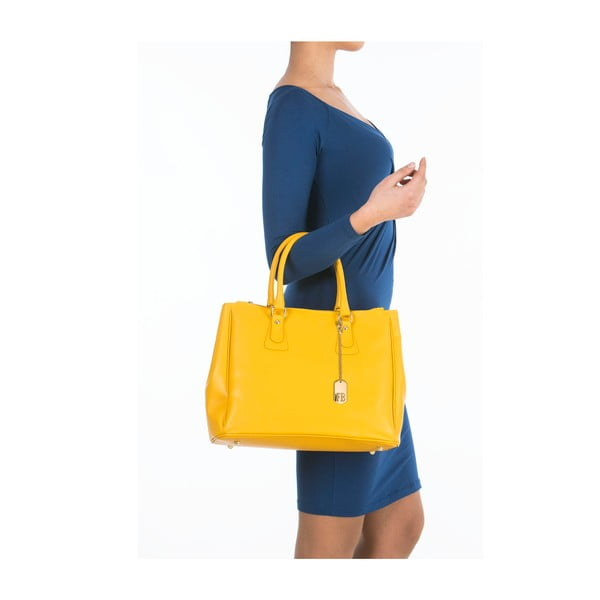Žlutá kožená kabelka Federica Bassi Ano