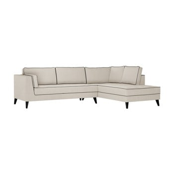 Canapea cu detalii negre Stella Cadente Maison Atalaia pe partea dreaptă crem
