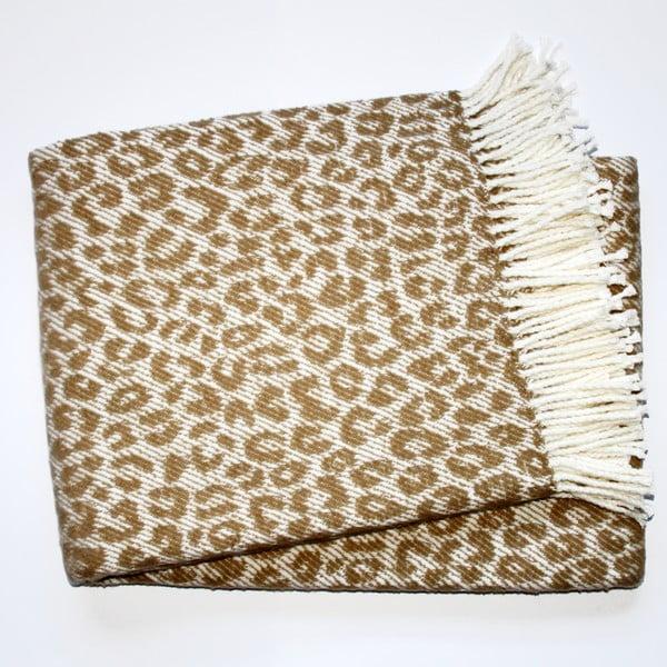 Béžová deka Euromant Leopard, 140x180cm