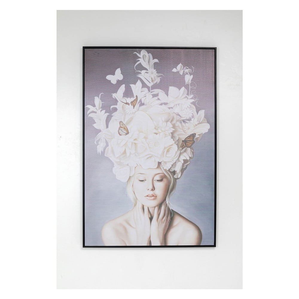 Obraz v rámu Kare Design Lady White Flowers, 80x120cm