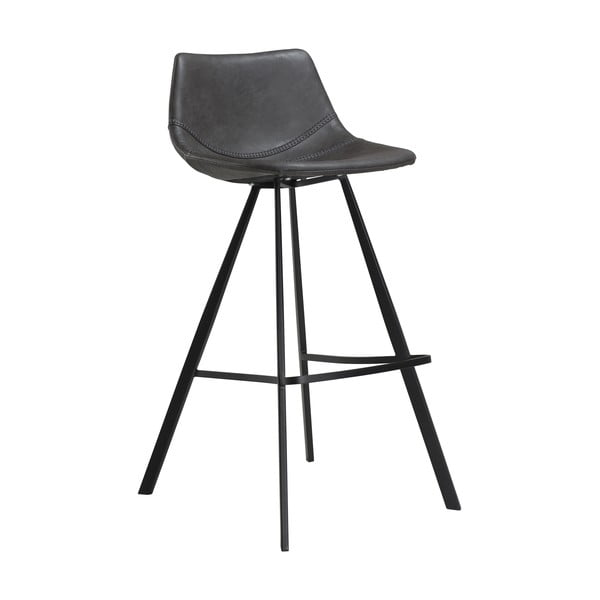 Šedá barová židle z eko kůže s černým kovovým podnožím DAN–FORM Denmark Pitch