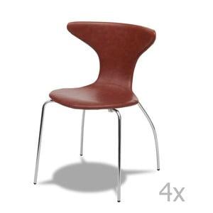 Sada 4 světle hnědých židlí Furnhouse Suki