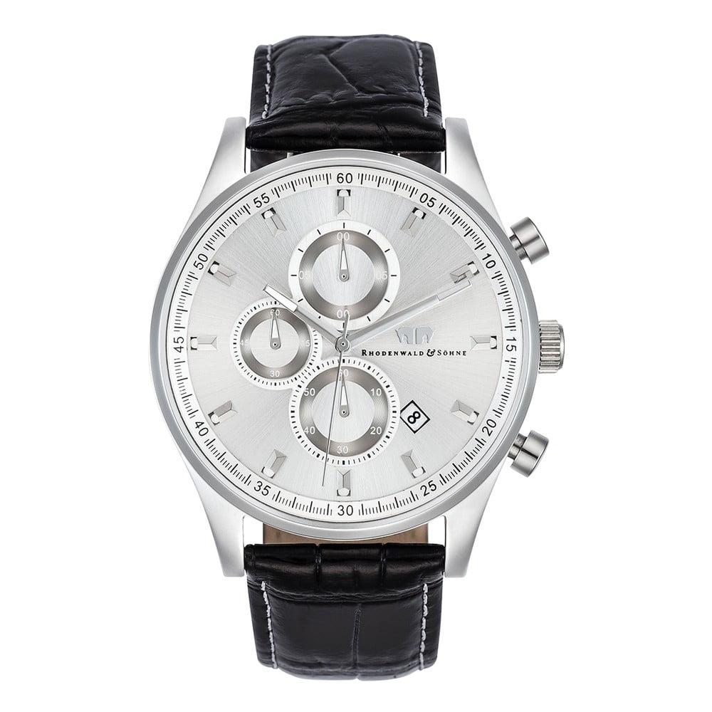Černé pánské hodinky s ciferníkem ve střírbné barvě Rhodenwald & Söhne Galanado