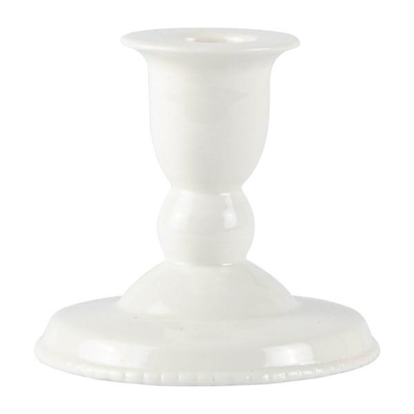 Sfeșnic din ceramică Villa Collection Runna, 9 cm, alb