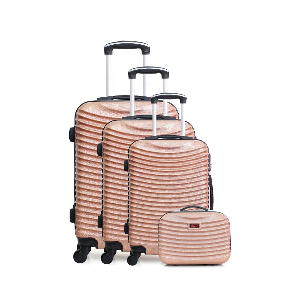 Sada 4 cestovních kufrů v barvě růžového zlata na kolečkách Hero Vanily