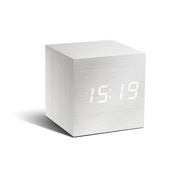 Ceas deșteptător cu LED Gingko Cube Click Clock, alb