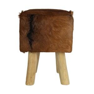 Stolička z teakového dřeva s kožešinou HSM Collection Goat