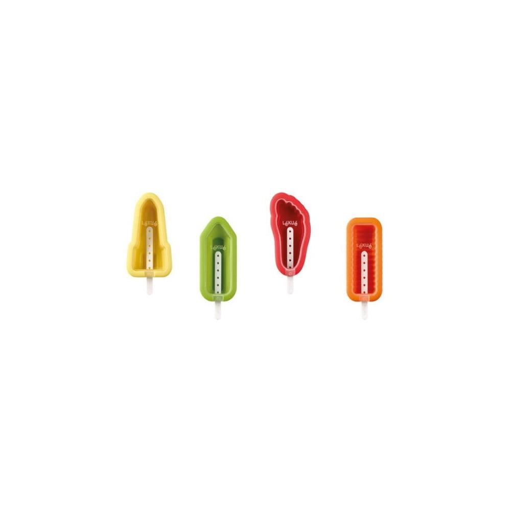 Sada 4 barevných silikonových forem na zmrzlinu v různých tvarech Lékué Iconic