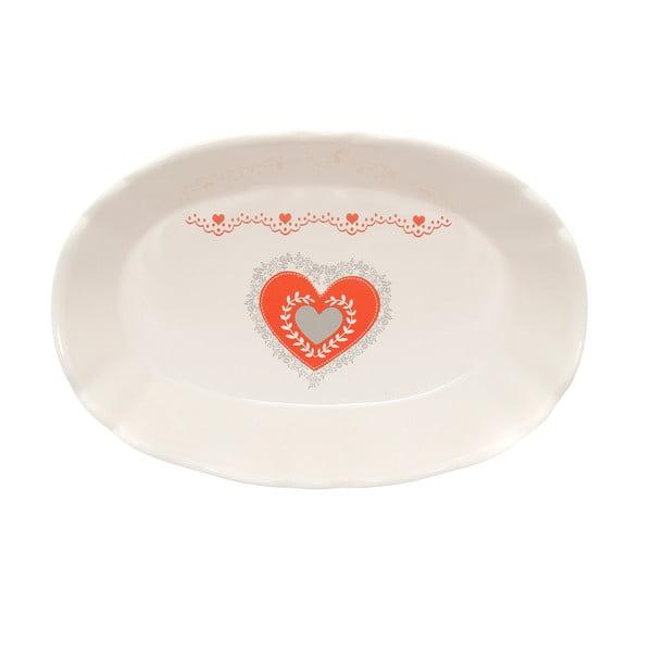 Oválný keramický servírovací talíř Kasanova Heart, 24x16cm