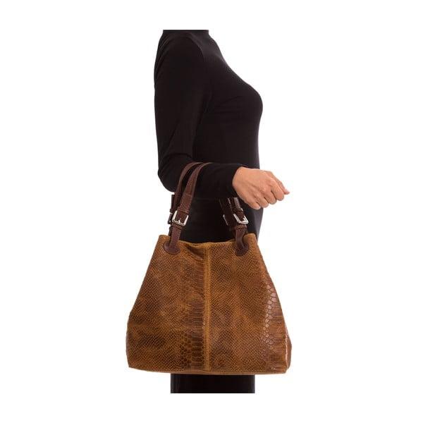 Tmavě hnědá kožená kabelka Luisa Vannini Python Cognac