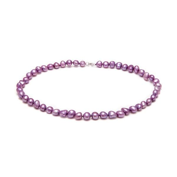 Náhrdelník z říčních perel GemSeller Pyrola, fialové perly