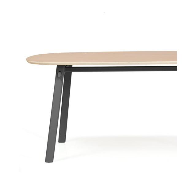 Šedý jídelní stůl z dubového dřeva HARTÔ Céleste, 220x86cm