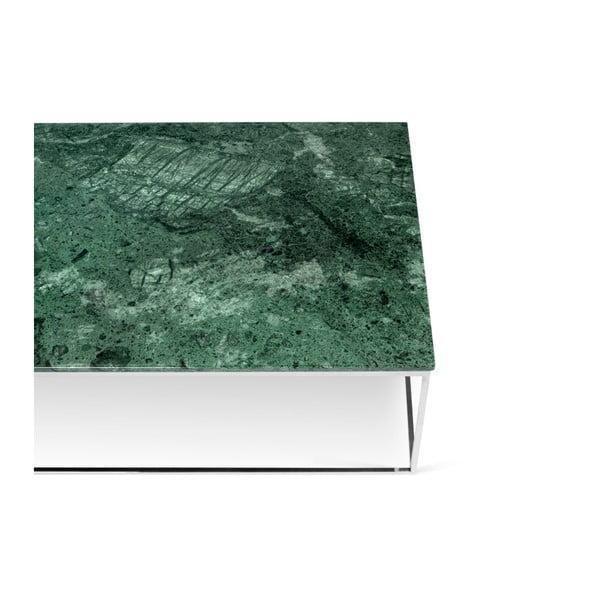 Konferenční stolek s chromovaným podnožím a zelenou mramorovou deskou TemaHome Prairie, šířka120cm