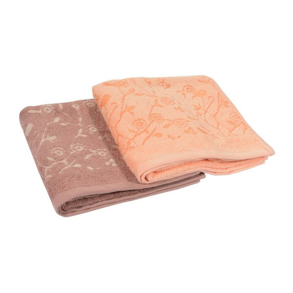Sada 2ks ručníků Antenne Bistre/Couleur Peche, 50x90 cm