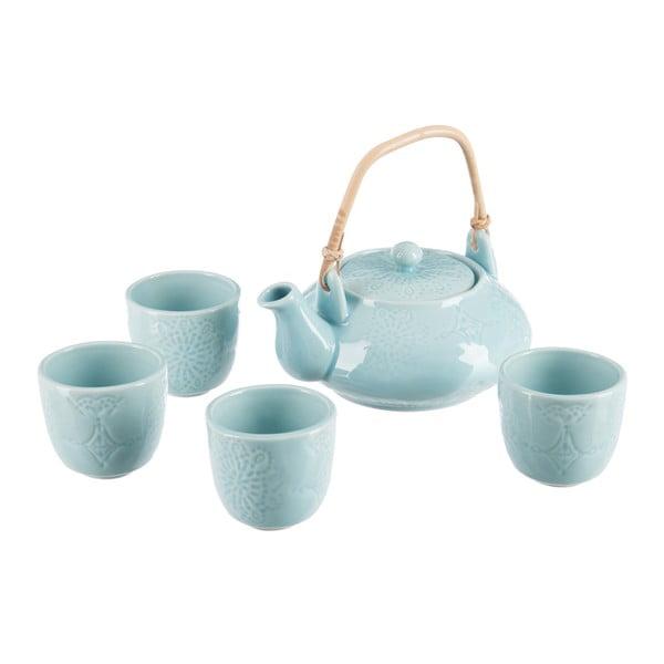 Sada čajové konvičky a 4 hrnků J-Line Azu