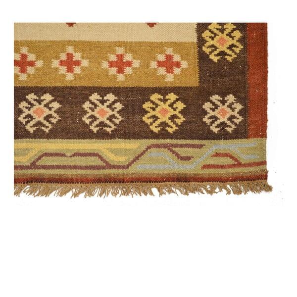 Ručně tkaný koberec Brown Leafs, 90x150 cm