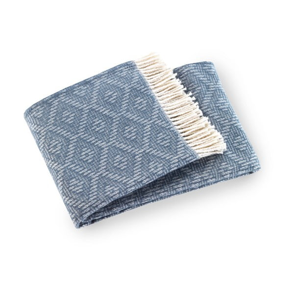 Modrý pléd s podielom bavlny Euromant Aisha, 140×180 cm