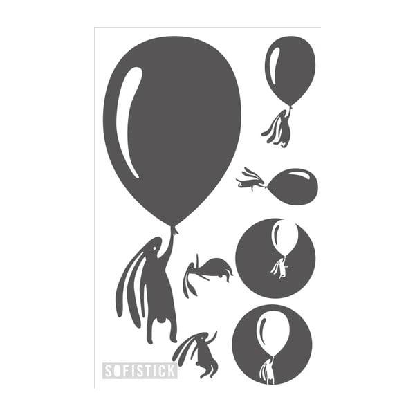 Samolepka Zajíci s balónky, malá