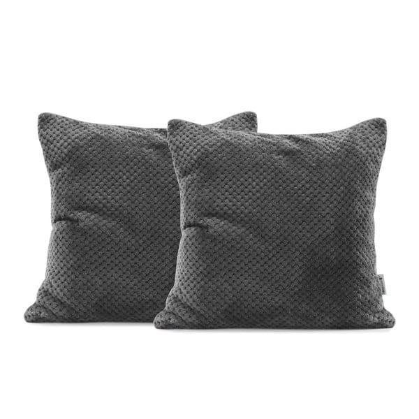 Sada 2 tmavě šedých povlaků na polštáře z mikrovlákna DecoKing Henry, 45 x 45 cm