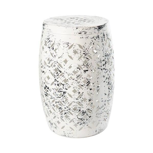 Bílý kovový ručně malovaný odkládací stolek RGE Nour, ⌀30cm