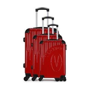 Sada 3 červených cestovních kufrů na kolečkách VERTIGO Cadenas Integre