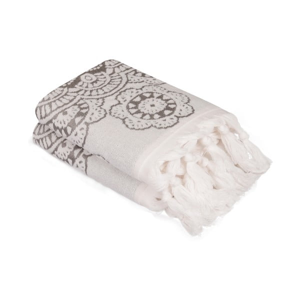 Komplet 2 szarych bawełnianych ręczników Carmelo Lerro, 50x90 cm