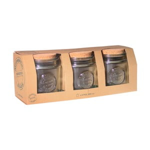 Set 3 borcane, capac din plută Ego Dekor Authentic, 800 ml