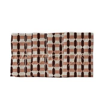 Set 4 șervețele textile Linen Couture Garland Geometric, 43 x 43 cm imagine