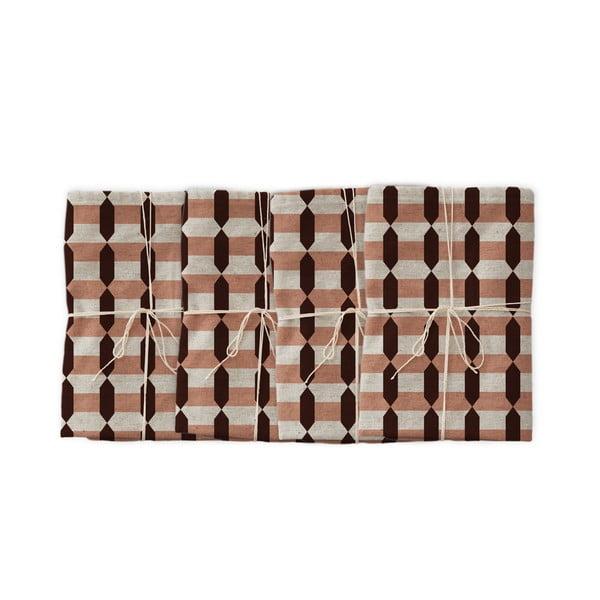 Garland Geometric 4 db szövet szalvéta lenkeverékkel, 43 x 43 cm - Linen Couture