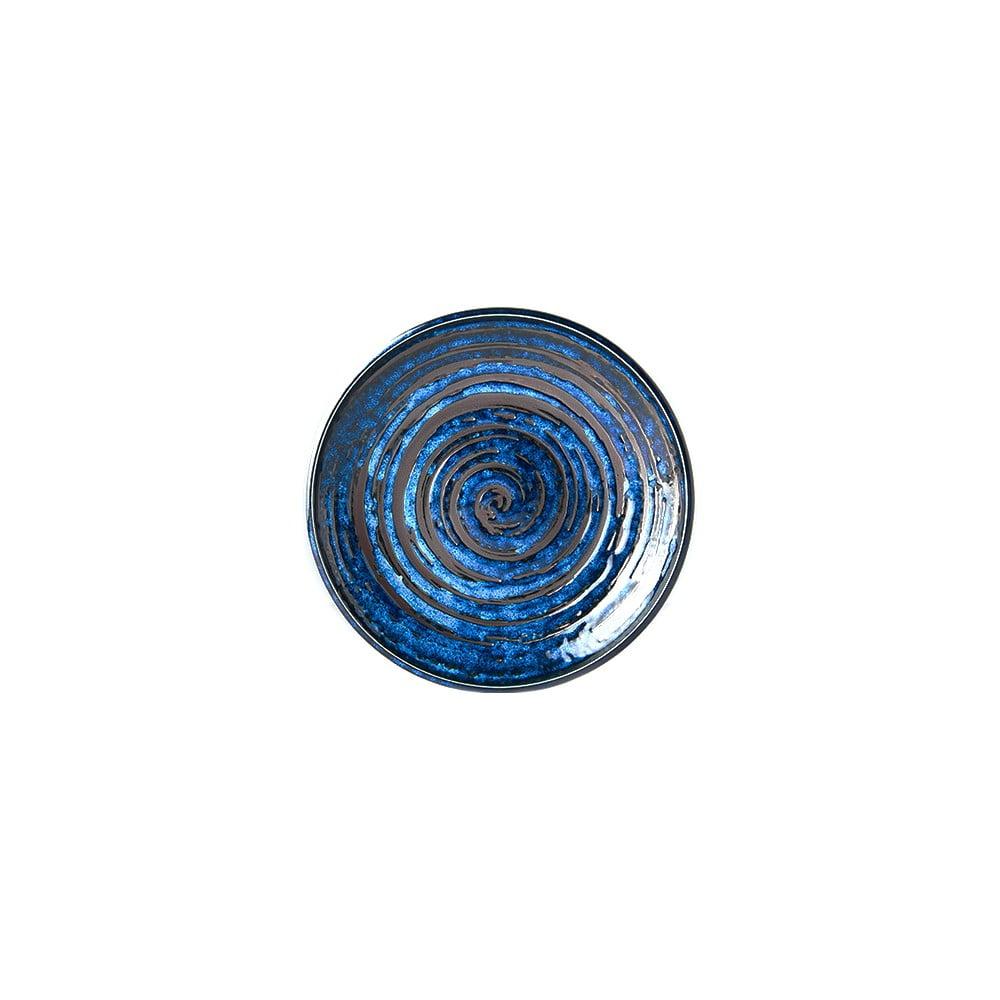 Modrý keramický talíř MIJ Copper Swirl, ø20 cm