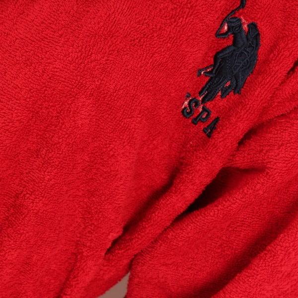 Červená sada dámského županu a 2 ručníků U.S. Polo Assn. Lutsen, vel. XL
