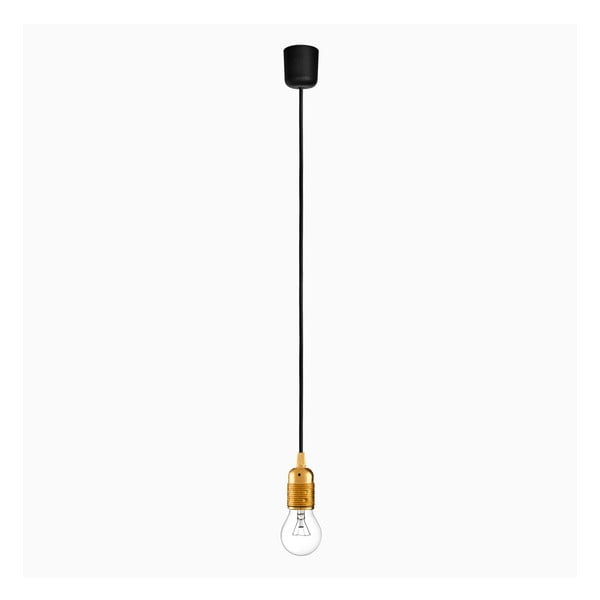 Závěsné svítidlo s černým kabelem a objímkou ve zlaté barvě Bulb Attack Uno