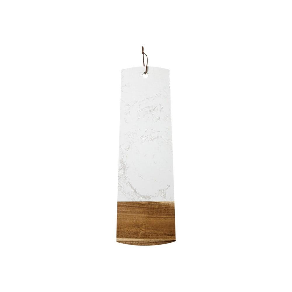 Bílé servírovací prkénko z kamene a dřeva akácie Ladelle, délka60cm