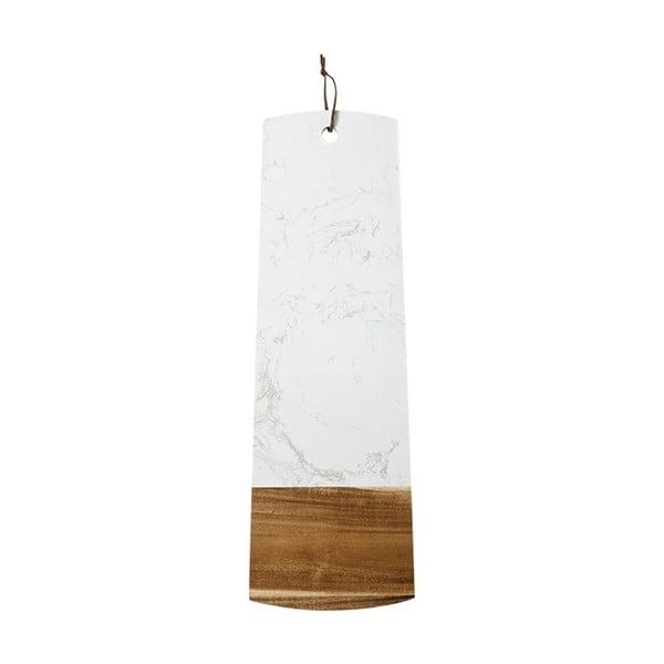 Fehér kő és akácfa deszka tálaláshoz, hossz 60 cm - Ladelle