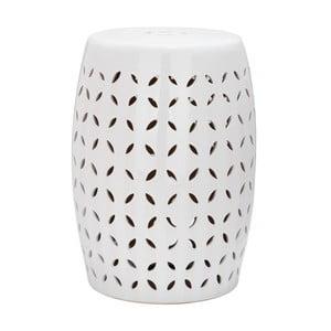 Bílý odkládací keramický stolek Safavieh Lattice Petal
