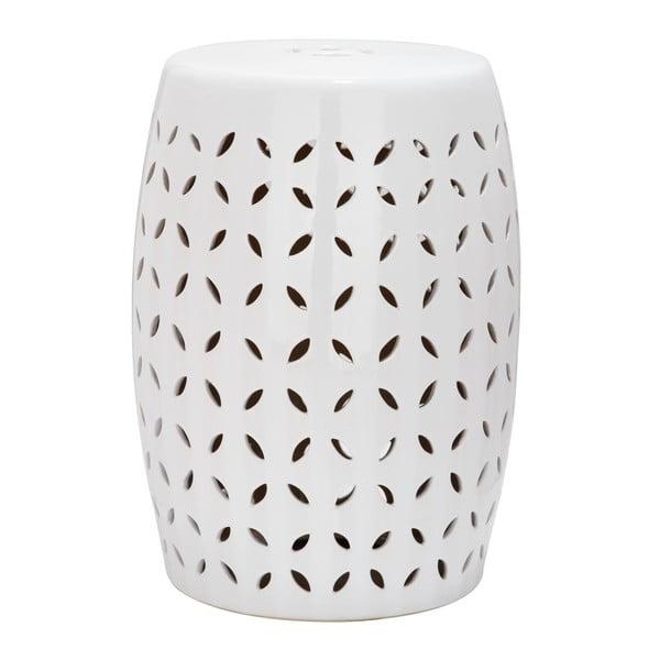 Măsuță din ceramică adecvată pentru exterior Safavieh Lattice Petal, ø33cm, alb