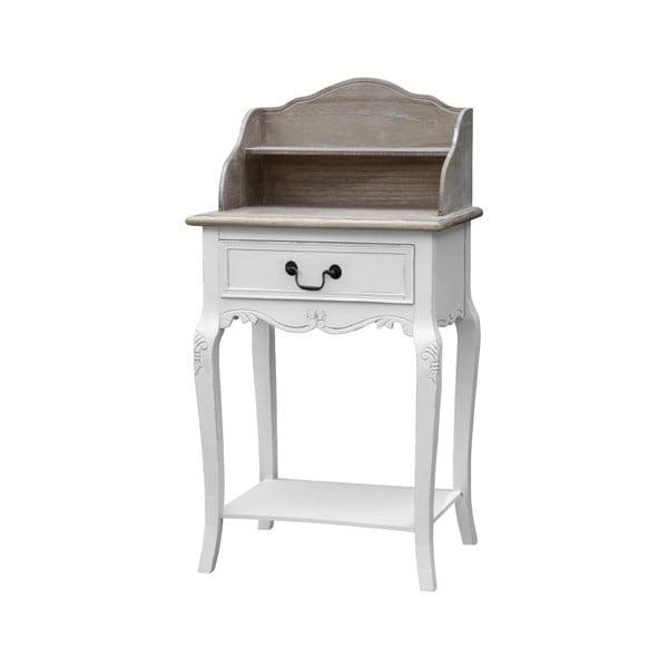 Rimini fehér konzolasztal fiókkal és polccal, nyárfából - Livin Hill