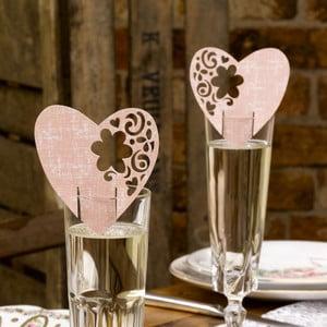 Sada 10 růžových dekorací na skleničky Neviti With Love