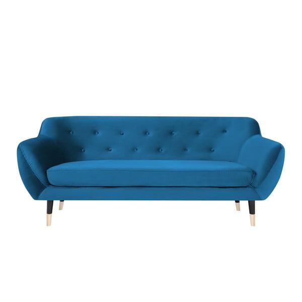 Modrá třímístná pohovka s černými nohami Mazzini Sofas Amelie
