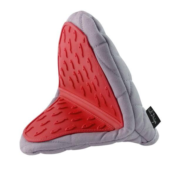 Hot Touch szürke-piros szilikonos pamut edényfogó - Vialli Design
