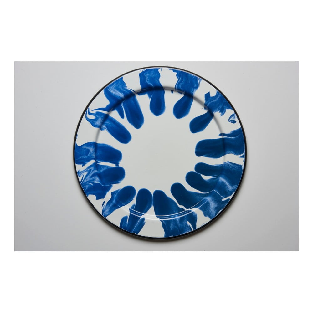 Modrobílý smaltovaný tác Kapka Little Color, Ø32cm