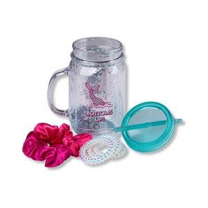 Set sklenice s uchem, víčkem, brčkem a gumičkami do vlasů Tri-Coastal Design Mermaid