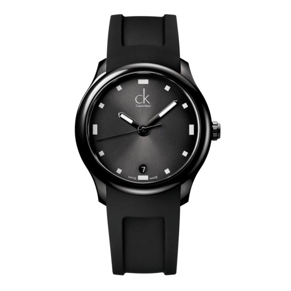 Pánské černé hodinky s gumovým páskem Calvin Klein